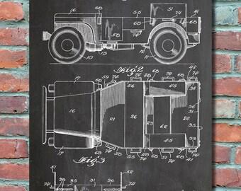 Willys Jeep Patent Wall Art Print, Jeep Patent Art, Jeep Patent Poster, Jeep Blueprint, Jeep Patent Print, Plexity Prints #94