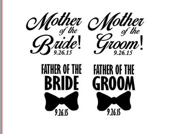 Custom Wedding Vinyl Decal; Mother Father of the Bride; Mother Father of the Groom; Vinyl Gift; Personalized Gift, Wedding Favors