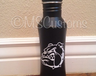Personalized black stainless steel flip top water bottle