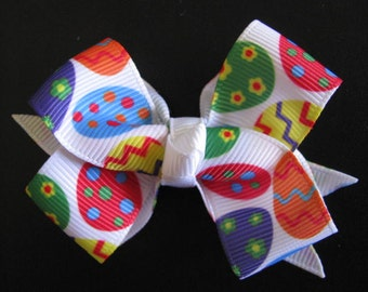 easter egg bow bright colours girl hair bow clip accessories