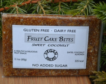 Sweet Coconut - Healthy Fruit Cake Snack for paleo, gluten-free, and vegan diet. Made from real fruits and nuts. Nothing else.