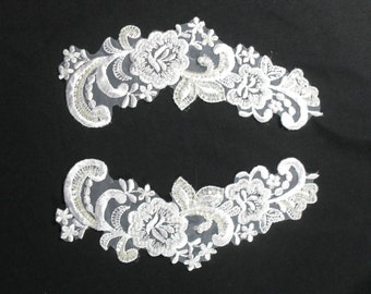 Floral White Sew On Applique Pair with Pearl and Sequin Detail Wedding Bridal