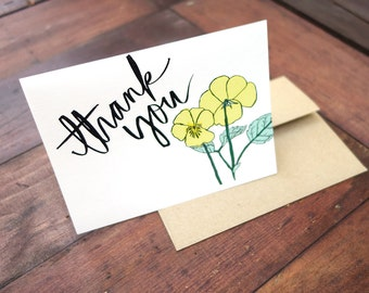 Thank You Card, Hand Lettered and Watercolored