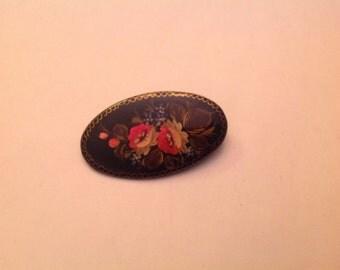 Vintage hand painted brooch