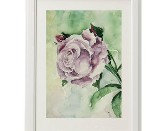 Purple rose, watercolor painting, original watercolor painting, watercolor art, lilac roses, handmade art, rosebud 11 x 7,5""