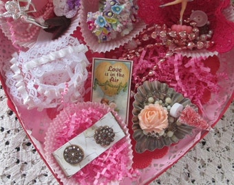 Valentine's Candy Box with Vintage Treasures