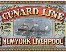 TS3 Vintage Shipping Cunard Line New York Liverpool Ship Travel Tourism Poster Re-Print Wall Decor A1/A2/A3/A4
