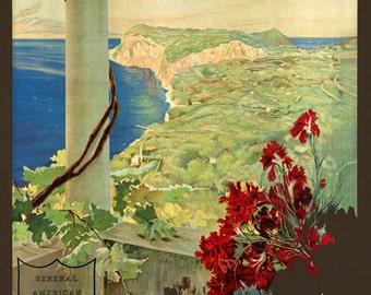 TA65 Vintage Italy Capri Napoli Naples Italian Travel Tourism Poster Re-Print Wall Decor A2/A3/A4