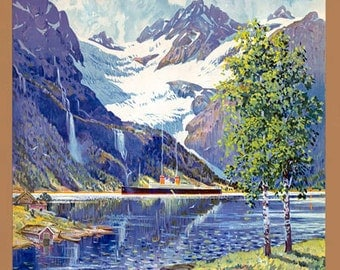 TT43 Vintage Norway Norwegian Travel Tourism Poster Re-Print Wall Decor A3/A4