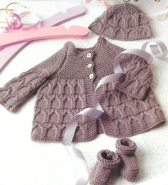 Knit Baby Matinee Coat Booties Bonnet Jacket Cardigan Hat
