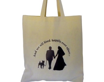 Wedding Tote Bag with Dog, Bride and Groom Just Married Silhouettes