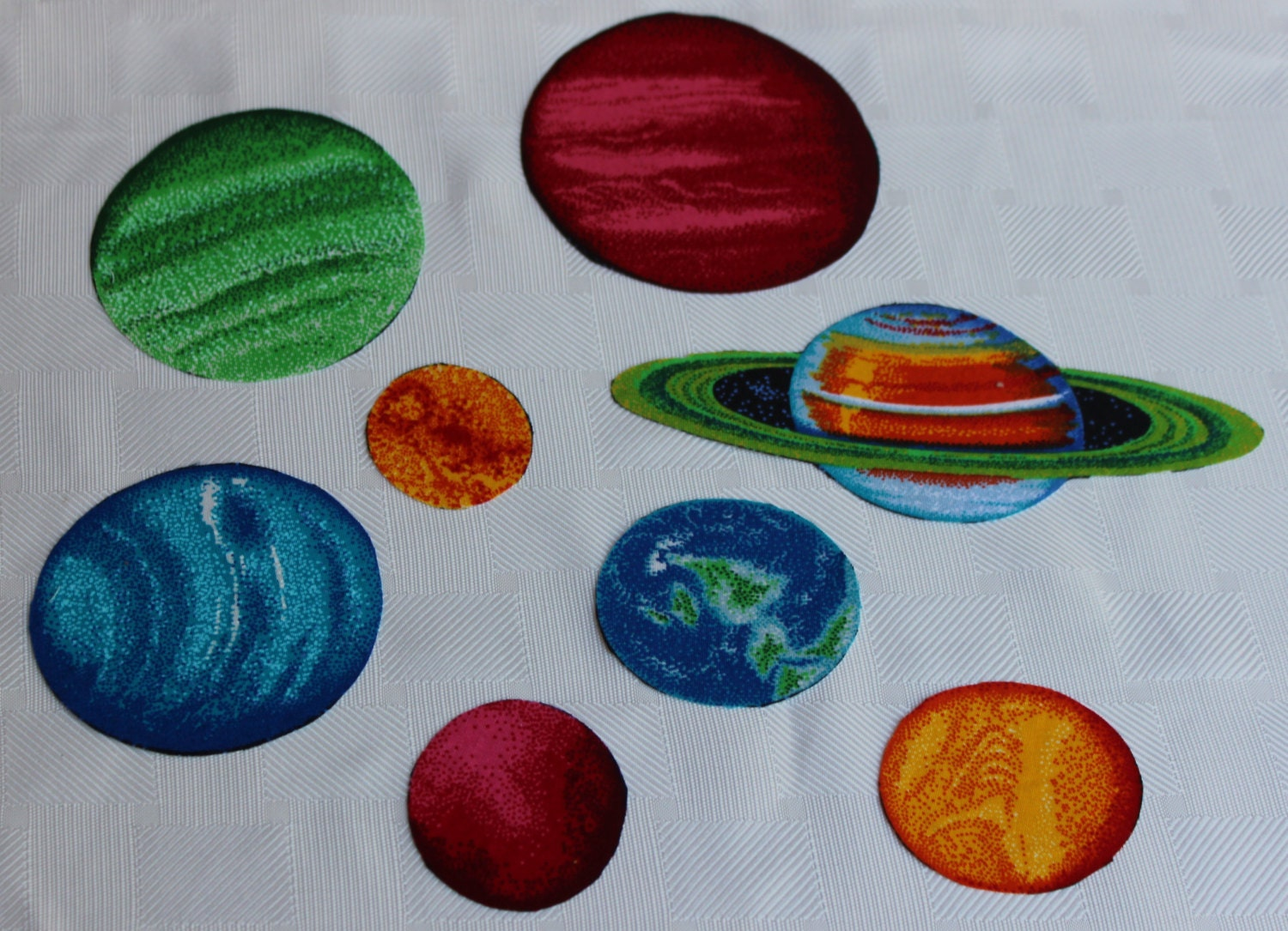 Set of 8 planets iron on fabric quilting appliques transfers for Solar system fabric