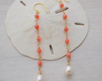 Long Coral and Freshwater Pearl Earrings, Freshwater Pearl Earings, Coral Earrings
