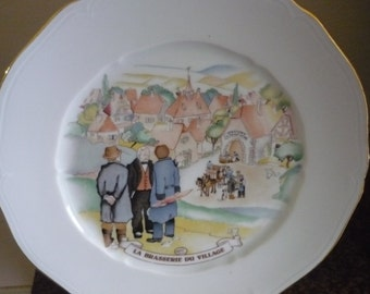 Free shipping French porcelaine Limoges  La Brasserie du village    free shipping within USA