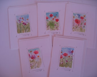 original watercolor flower notecards, hand-painted