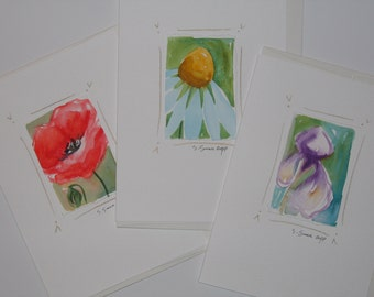 Handmade cards, flower notecards, original hand-painted watercolor paintings, poppy, daisy and iris