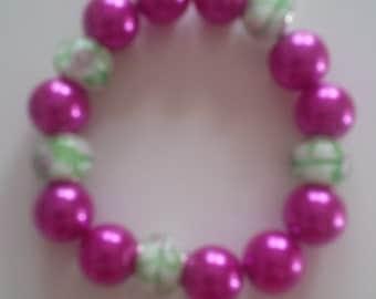 Pink & Green Beaded Bracelet   (#69)