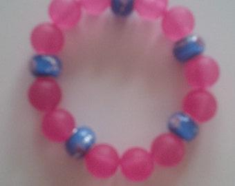 Beaded Pink & Blue Bracelet   (#107)