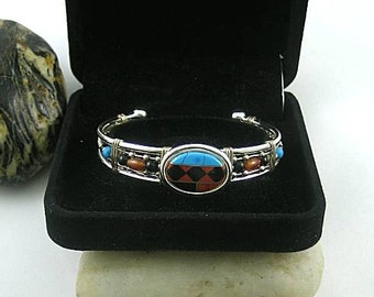 Tribal Native American Turquoise Onyx Carnelian Coral Inlay Wire Cuff