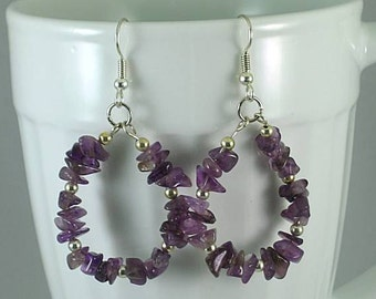 Amethyst Chip Hoops on Surgical Steel Ear Wires - Birthday Earrings