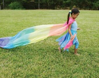 Waldorf Rainbow Silk Scape, Silk Canopy, Waldorf Playstand, Rainbow Play Silk, (9 feet x 3 feet)