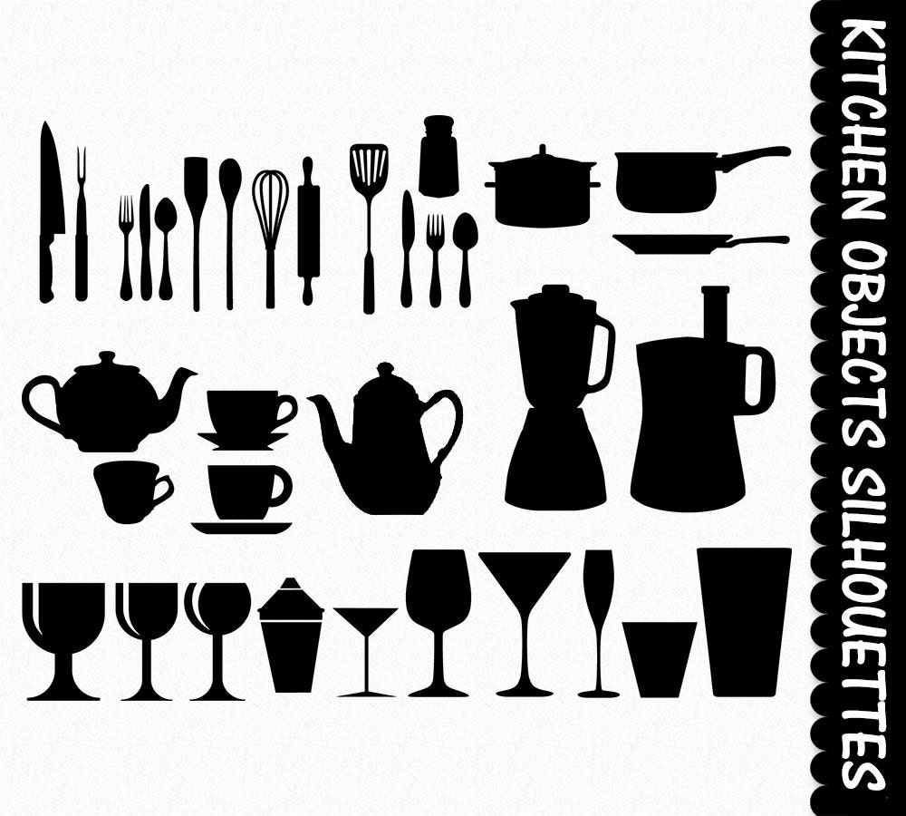 Kitchen Clip Art Graphics Clipart Silhouettes Digital