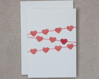 Heart bunting - red/white polka dots