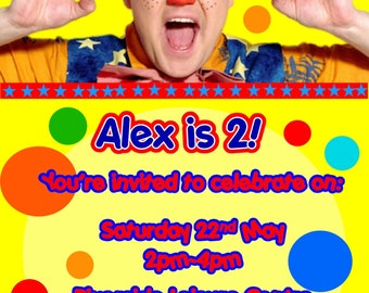 Printed Personalised Mr Tumble Birthday Party Invitations x10