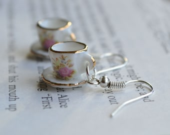 "Alice In Wonderland ""Curiouser and Curiouser"" Pink Rose Teacup Earrings"
