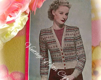 Vintage 40s Knitting Pattern Bestway 1491 Lady's Traditional Fair Isle Cardigan 36-38in. Bust