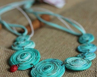 """Necklace from polymer clay """"Circles on the water"""""""