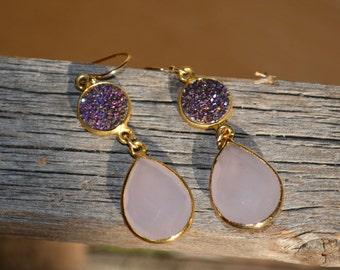 Purple Drusy Druzy Earrings, Druzy and Chalcedony Earrings, Purple Druzy and Pink Chalcedony Earrings, Pink Chalcedony Earring