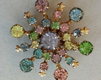 Vtg. Multi-Colored Rhinestone Starburst Brooch