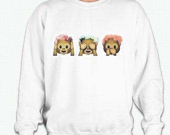 Hear no evil, See no evil, Speak no evil 3 monkeys with Flower Crown Sweatshirt