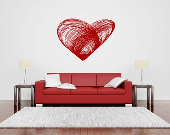 Wall Vinyl Sticker Decals Mural Room Design Heart  Love Romantic bo014