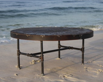 round coffee table, metal and wood table, metal trim table, reclaimed wood table, industrial table, round table, sofa table, dining table