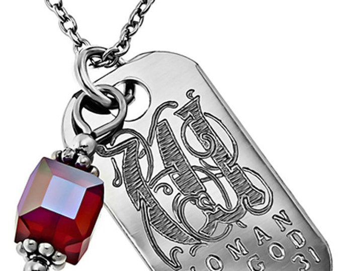 Birth Stone Necklace with Engraved Bible Verse  July
