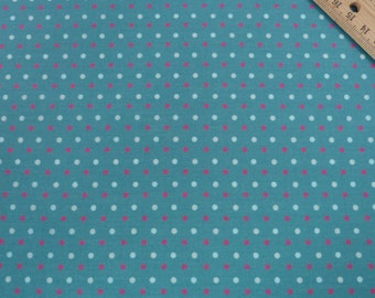 Multi-coloured Polka Dot Fabric on Teal, 100% Cotton Quilting Fabric - Fat Quarter
