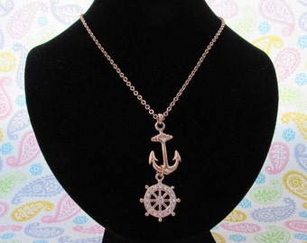 Necklace, Anchor Necklace, Bronze Necklace, Bronze Anchor Necklace, Long Chain Necklace, Rhinestone Necklace,Open Link Necklace, Chain Link