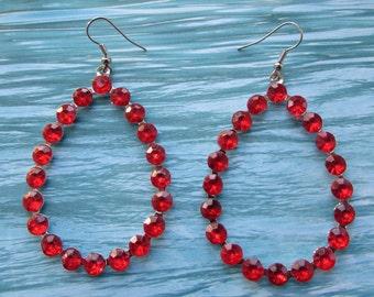 Red Tear Drop Style Earring,Long Drop Earring,Red Stones Earring,Pierced Earring,Dangle Earring,Accessories,Silver Jewelry, Silver Earwire