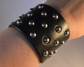 "Black Leather Dome Studded Wristband - 2"" Wide, 1.25"" Strap - Fits 7.5"" to 8"" Wrist - Item #062"