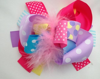 Pastel over the top boutique feather bow
