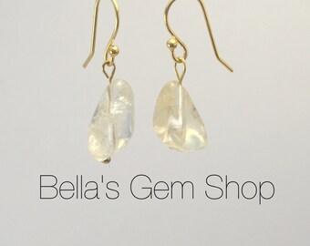 14k gold earrings with citrine gemstone