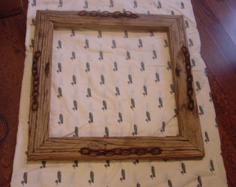 17x17 driftwood picture frame with logchain