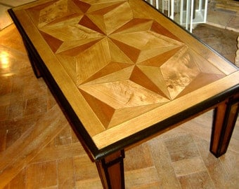 low wooden table inlaid