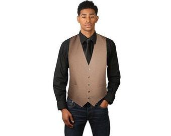Men's Tan Full Back Dress Vest