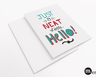 Retro Greeting Card - Neat Hello - Printed Card