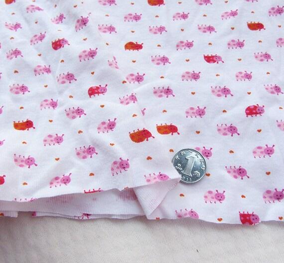 Kids baby print rib knit fabric ladybird 100 cotton 65 160cm for Knit fabric childrens prints