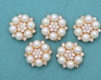 5 pc Embellishments, Rhinestone Gold Embellishments, DIY Supplies, Scrapbrooking,  Gold Embellishments.