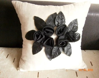 Leader Pillow Cover Roses Pillow Case  Leader Cushion Cover Linen pillow Decorative Pillow Leader Throw Pillow Roses cushion Cover 16''
